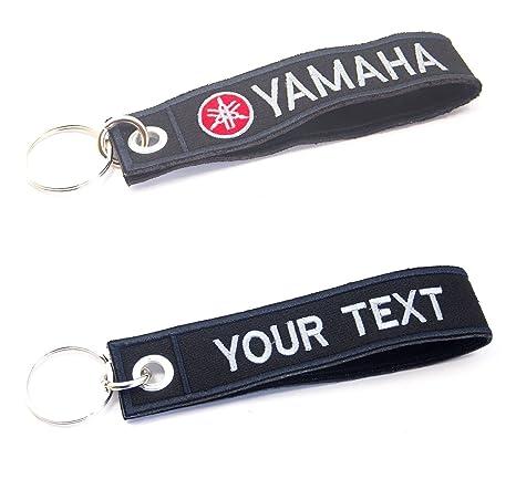 Yamaha Keychain Custom Text Name Motorcycle Embroidered TAG Key Ring Holder