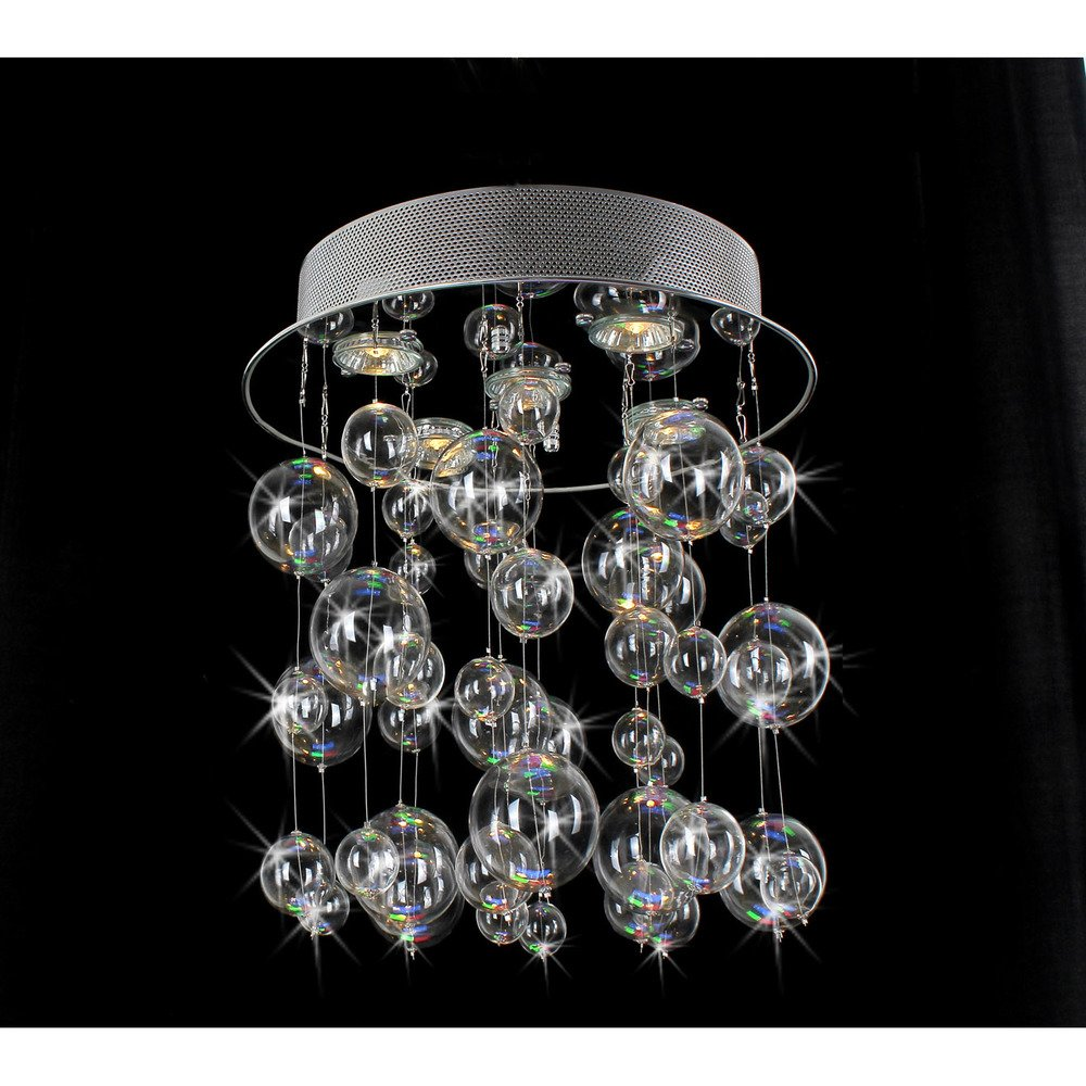 Chrome Ceiling Mount Chandelier with Hand Blown Bubble Glasses ...