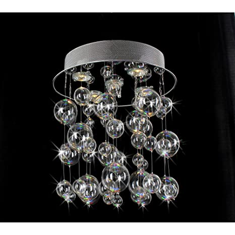Chrome ceiling mount chandelier with hand blown bubble glasses chrome ceiling mount chandelier with hand blown bubble glasses aloadofball
