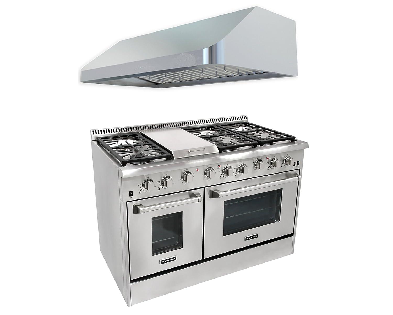 Thor Kitchen 48'' 6 Burner Gas Range with Double Oven+48'' Gange Hood