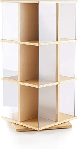 Guidecraft Rotating Book Display 3 Tier Bookshelf, Storage Rack for Kids Classroom, Media Display and Storage