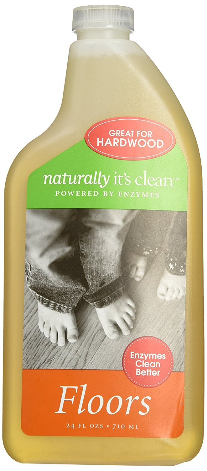 Naturally It's Clean Natural Hard Wood All Floor Cleaner Concentrate Bathroom Refill Eco Green Non Toxic Surface All Purpose No Streak 24oz Plant-Based Child Pet Safe Organic Enzyme Makes 24 gal