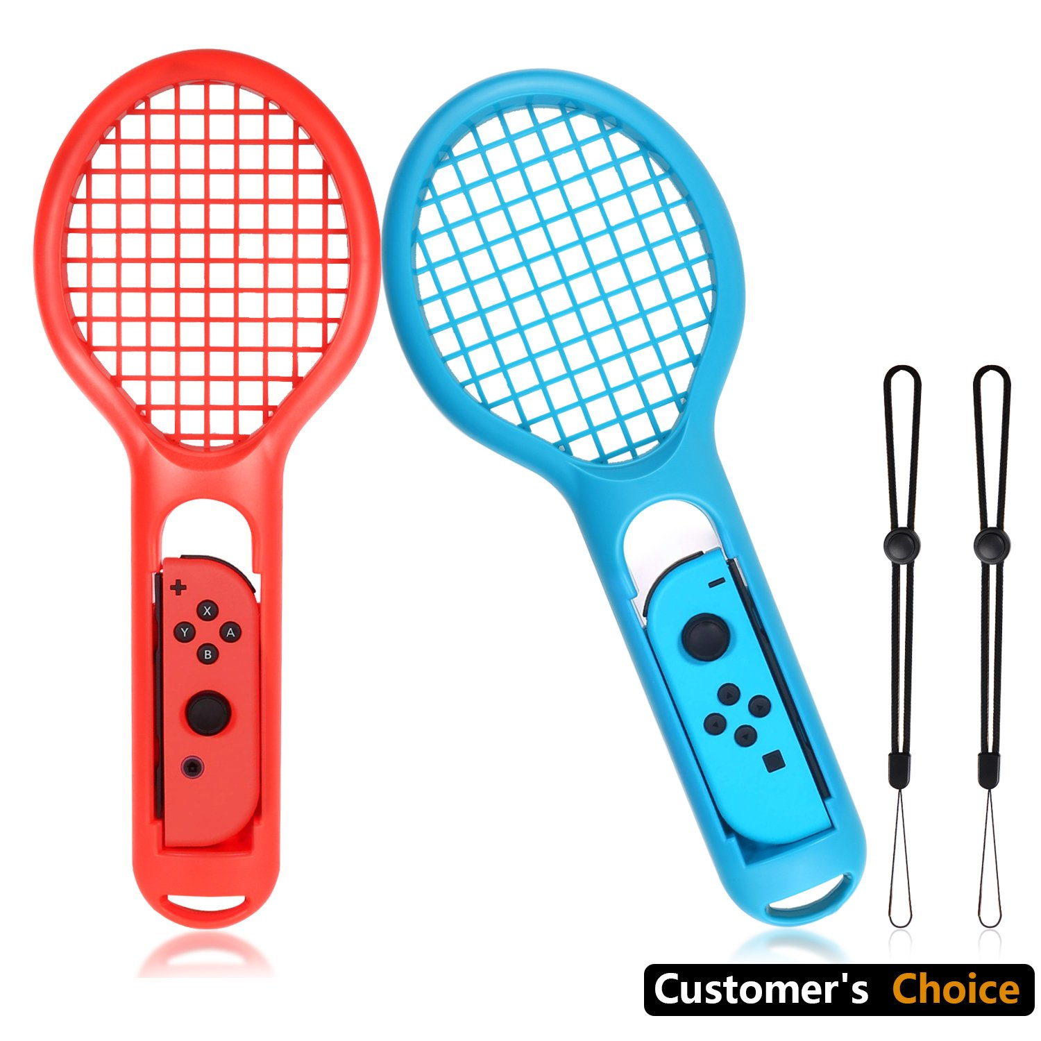 Tennis Racket for Nintendo Switch Switch Nintendo Switch Game Mario Tennis Aces for Joy-Con Controller Twin Pack Tennis Racket (1X Blue & 1X Red)