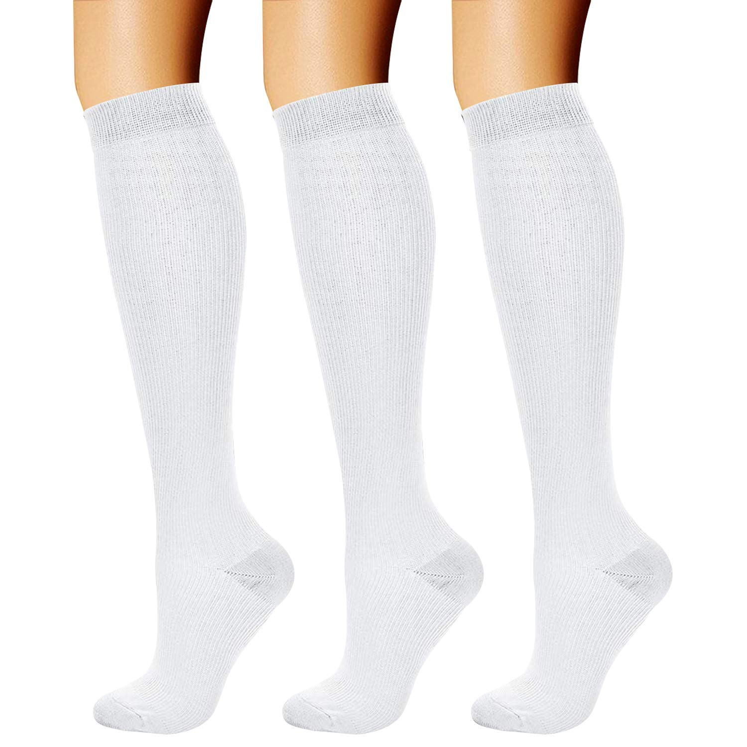 CHARMKING Compression Socks (3 Pairs) 15-20 mmHg is Best Athletic & Medical for Men & Women, Running, Flight, Travel, Nurses, Edema - Boost Performance, Blood Circulation & Recovery (S/M, White) by CHARMKING