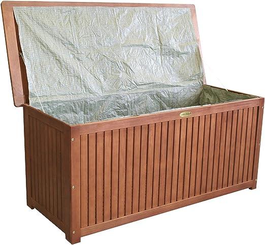 wohaga® Jardín Box 133 x 58 x 55 cm incluye interior lona arcón Cojín Caja Jardín baúl Madera baúl Madera Acacia – Baúl asiento baúl: Amazon.es: Jardín