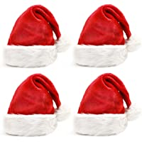 Rorchio 4 Pack Christmas Hats, Plush Santa Hat in Traditional Red and White,Perfect for Christmas Costume Party and Holiday Event