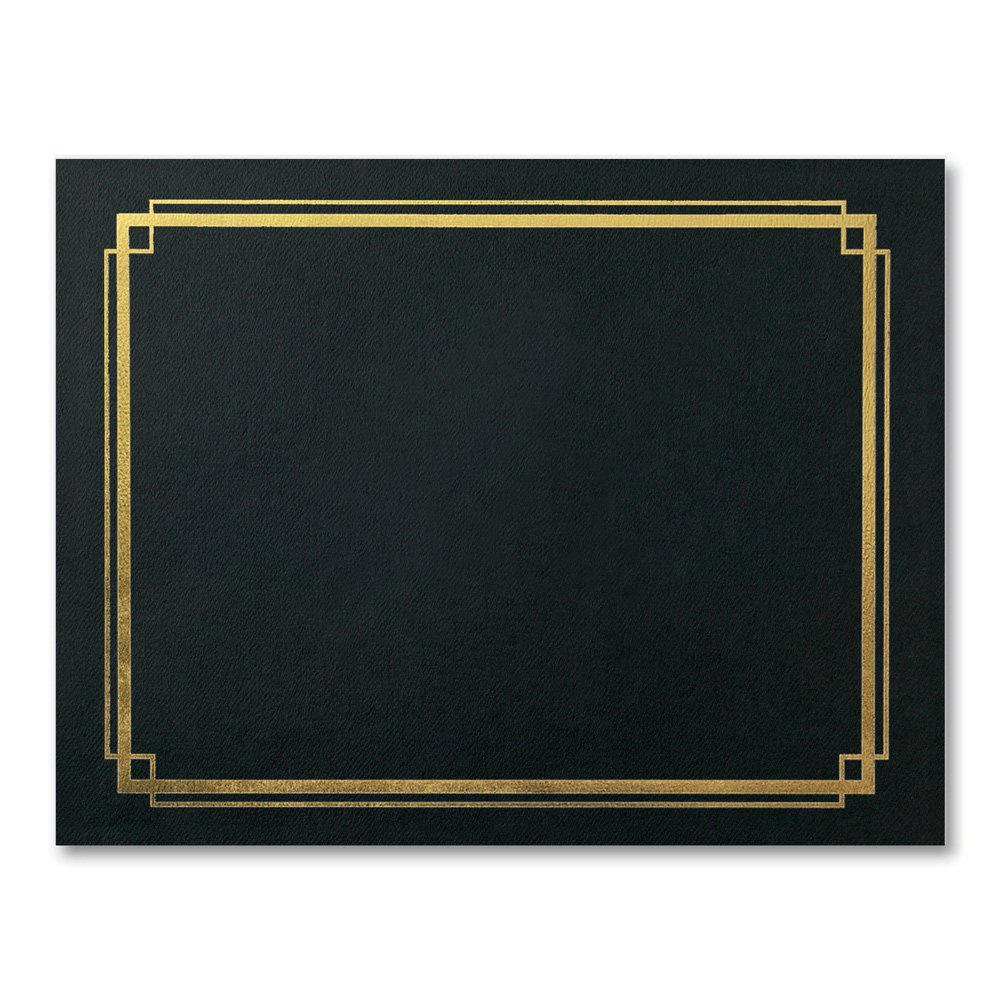 PaperDirect Gold Foil Border Black Certificate Jackets, 9-½ x 12 Inch Folded, Holds 8-½ x 11 Inch Certificates, 10 Count