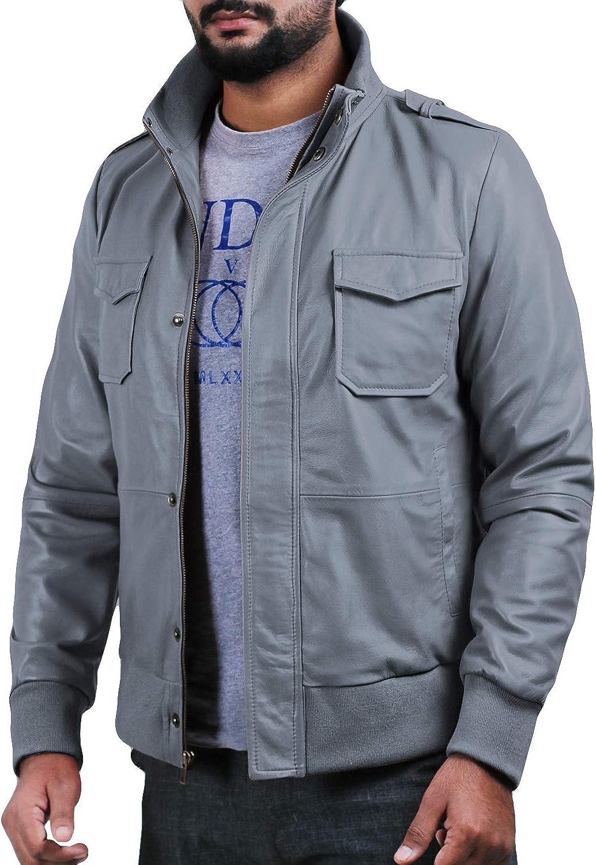 1501019 Laverapelle Mens Genuine Lambskin Leather Jacket Black, Bomber Jacket