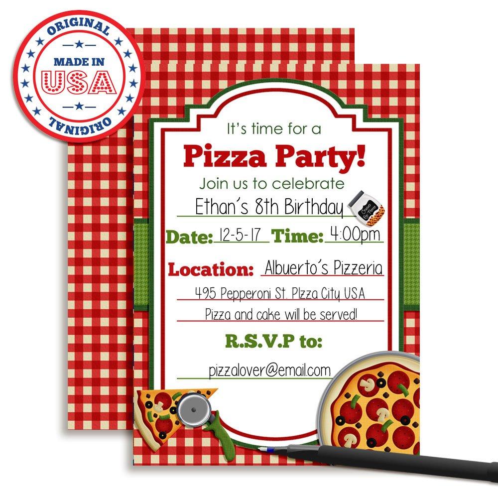 Amazon.com: Pizza Party Birthday Invitations, Ten 5\