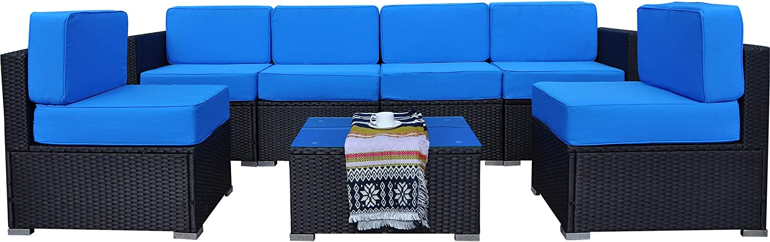 MCombo 7 Pieces Patio Furniture Sets with Glass Coffee Table, All-Weather Outdoor Sectional Sofa with Two Ottomans,Wicker Patio Conversation Set with Cushions 6082-7pc
