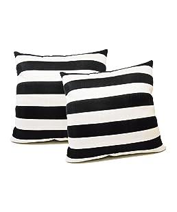ZIKRAK EXIM Striped Cushion Covers, 40x40cm(Black and White, ZEMX140M) - Set of 2