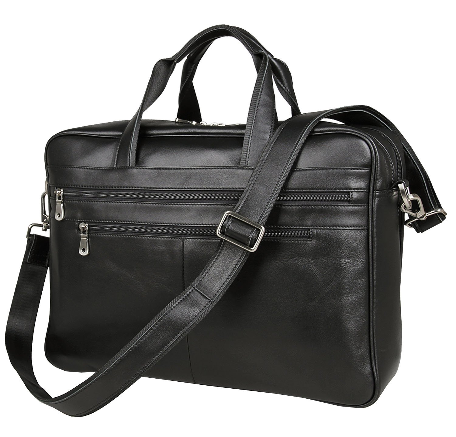 17-inch Leather Laptop Bag, Berchirly Large Lawyer Brifecase Man Computer File Bag Business Totes Black