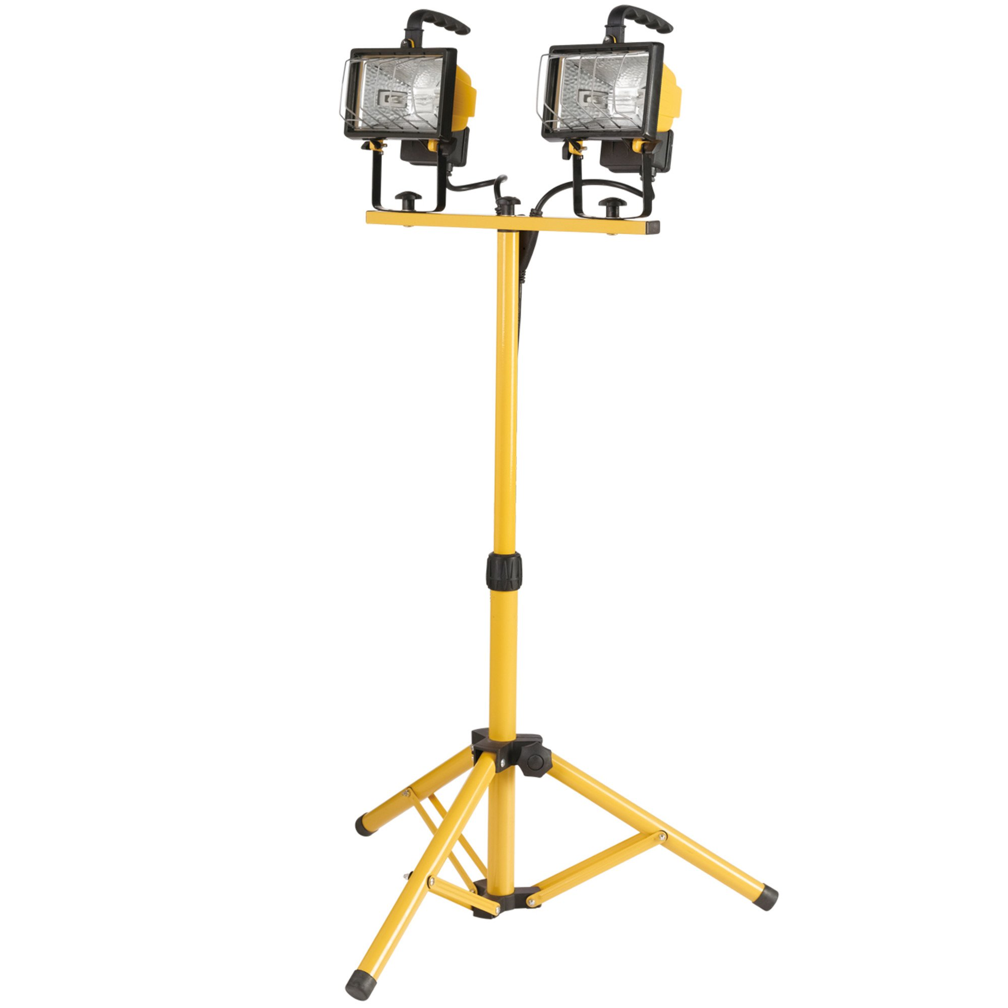 Globe Electric 500W Twin-Head Halogen Work Light, Yellow Finish, Adjustable Tripod, Bulbs Included, 6055701