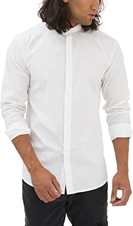 trueprodigy Casual Hombre Marca Camisa Basico Ropa Retro Vintage Rock Vestir Moda Cuello Alto Manga Larga Slim Fit Designer Fashion Shirt, Colores:White, Tamaño:S: Amazon.es: Ropa y accesorios