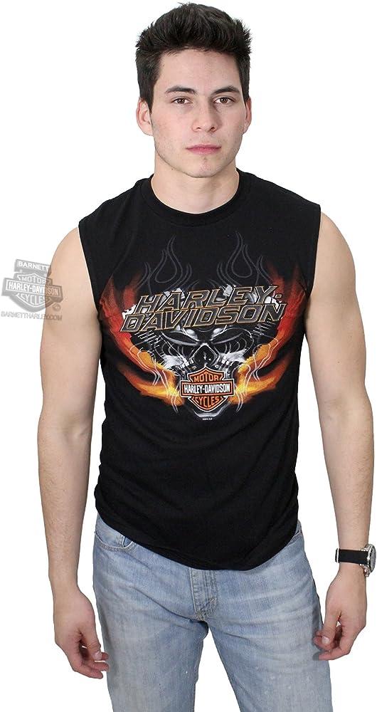 Para hombre diseño de Harley-Davidson V-Twin Hell Calavera Llamas muscular camiseta: Amazon.es: Ropa y accesorios