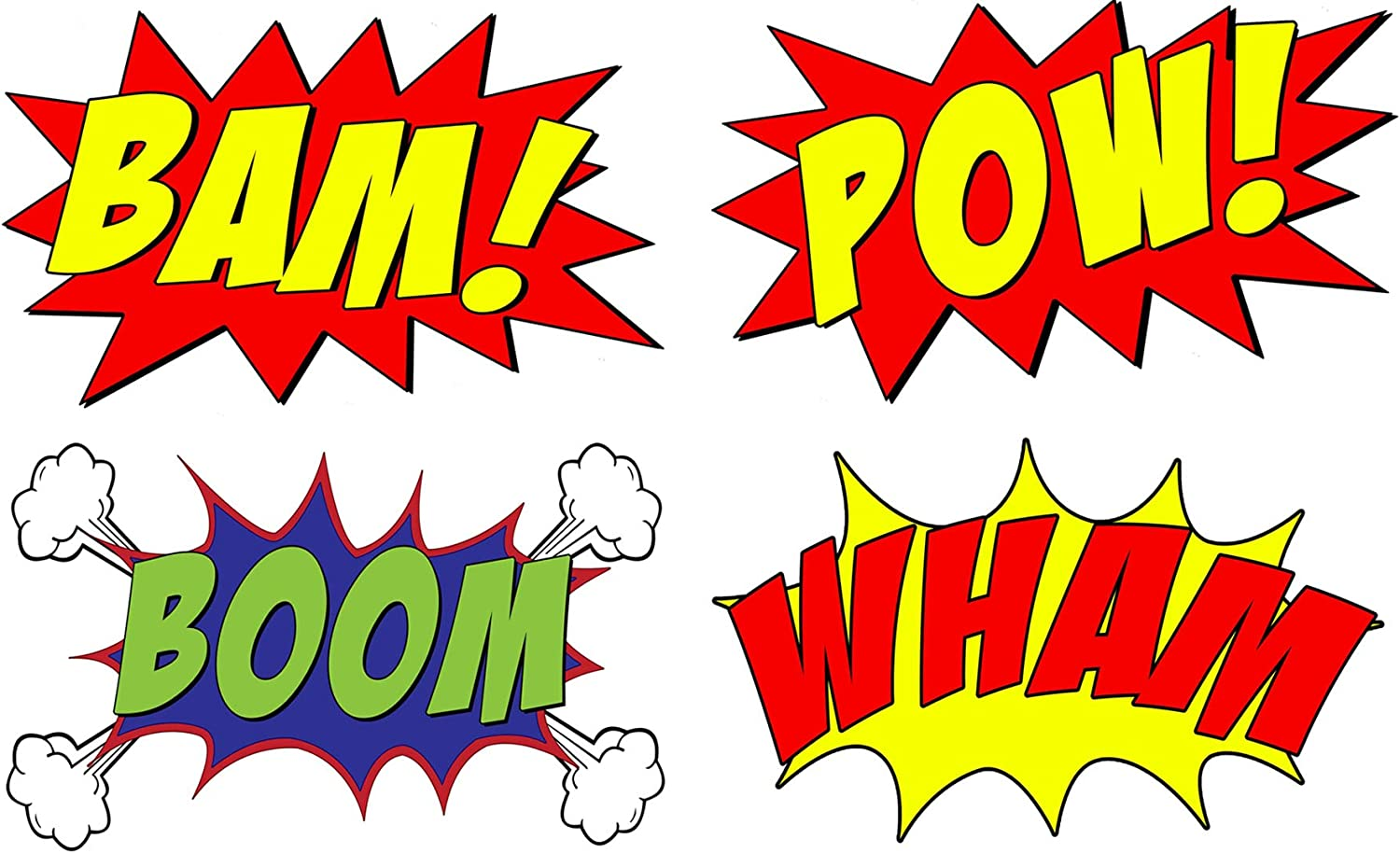 "Amazon.com: VWAQ Comic Book Set of 4 Wall Decal Sound Effects Comic Book Bam  Pow Boom Wham Pack of Superhero Vinyl Wall Art Peel and Stick Stickers CB5  (10"" H X 16"""