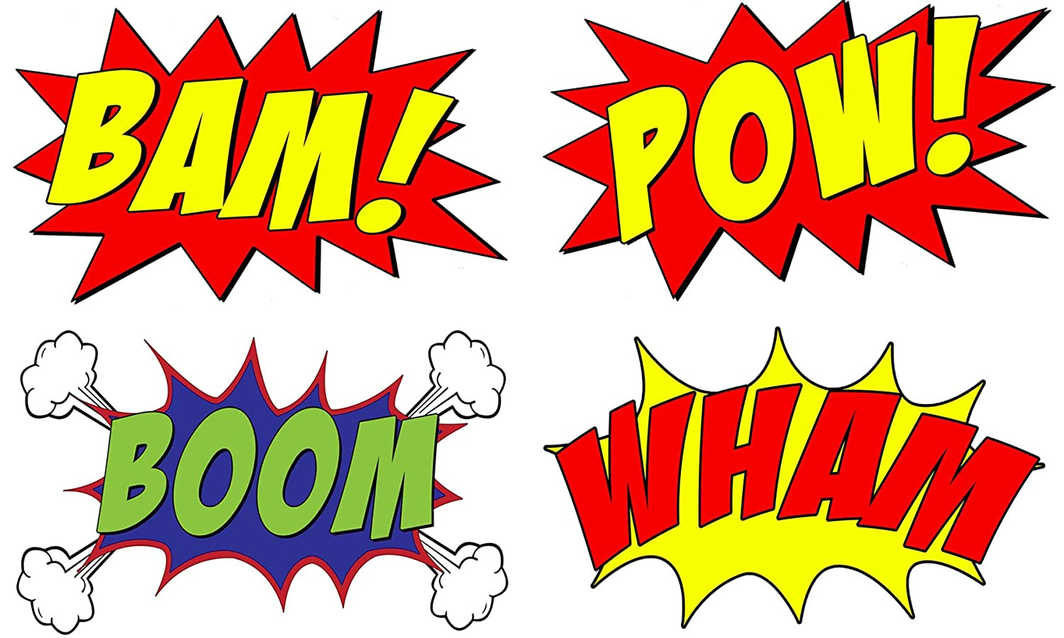 Vwaq comic book set of 4 wall decal sound effects comic book bam pow boom wham pack of superhero vinyl wall art peel and stick stickers cb5 10 h x 16 w
