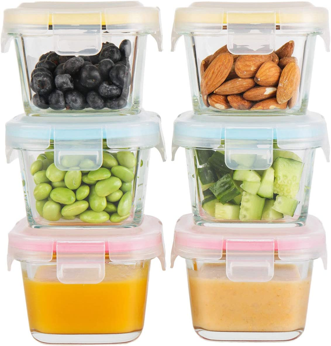 Doonmi - Glass Baby Food Storage Containers (5.4oz, 6-Pack), Small Containers with Airtight BPA - Free Locking Lids, Microwave, Dishwasher, Freezer Safe, Perfect for Infant & Babies.