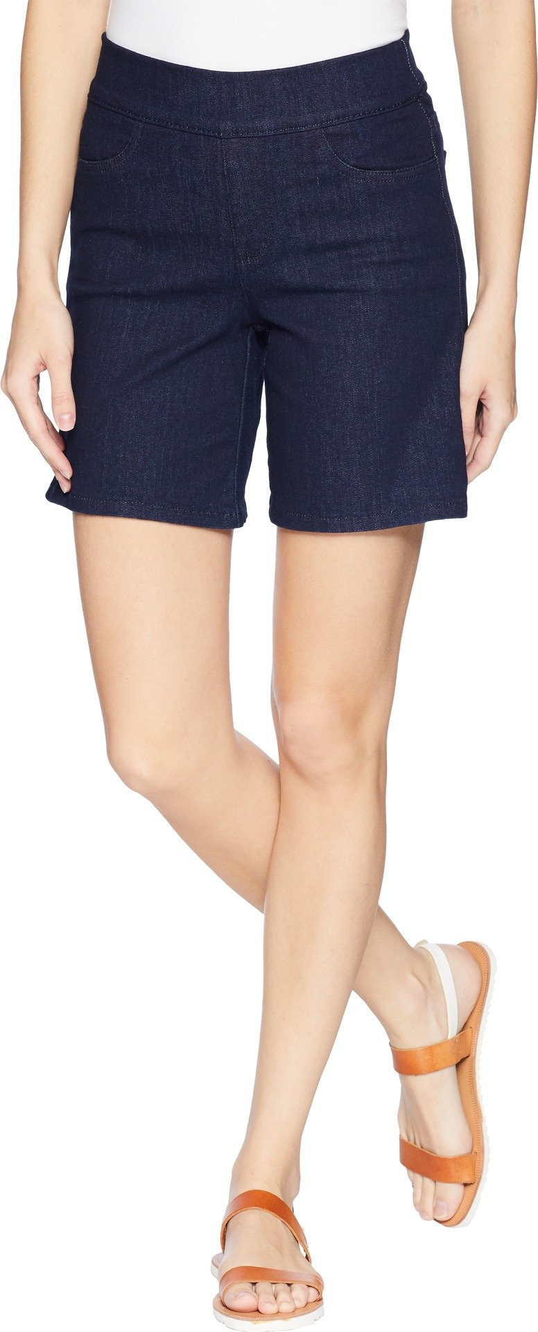 NYDJ Women's Pull on Short with Side Slit in Premium Denim, Rinse, 16