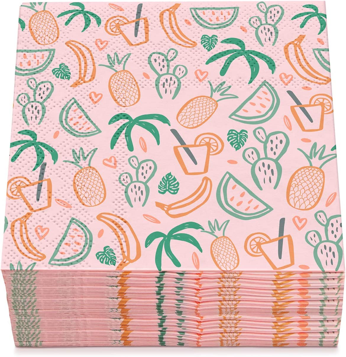 Sweetzer & Orange Cocktail Napkins Bulk Set of 60. White Napkins with Tropical Vibe. 5x5 Inch (Folded) Party Napkins. Soft 2-Ply Eco Disposable Paper Napkins. Decorative Beverage Napkins, Bar