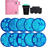 Biutee Nail Art Image Stamp Stamping Plates with Stamper,Scraper and Pack Bag
