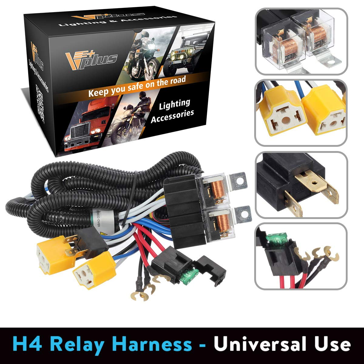 Partsam H4 9003 Headlight Relay Wiring Harness Kit High For Also Connector Diagram Low Beam Heat Ceramic Socket Plugs Hid Conversion Compatible With Toyota Pickup