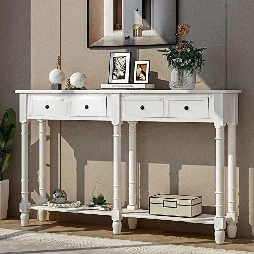 Rhomtree Long Sofa Table Entertainment Console Table with Drawers and Shelves Country Style Living Room Entryway Hallway Furniture White