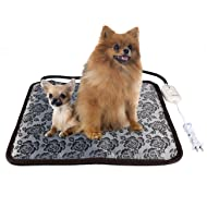 "Pet Heating Pad, Electric Heating Pad for Dogs Cats with Chew Resistant Cord, Waterproof and Adjustable Temperature Pet Warmer Pad Pet Bed Warmer, 17.7"" x 17.7"""