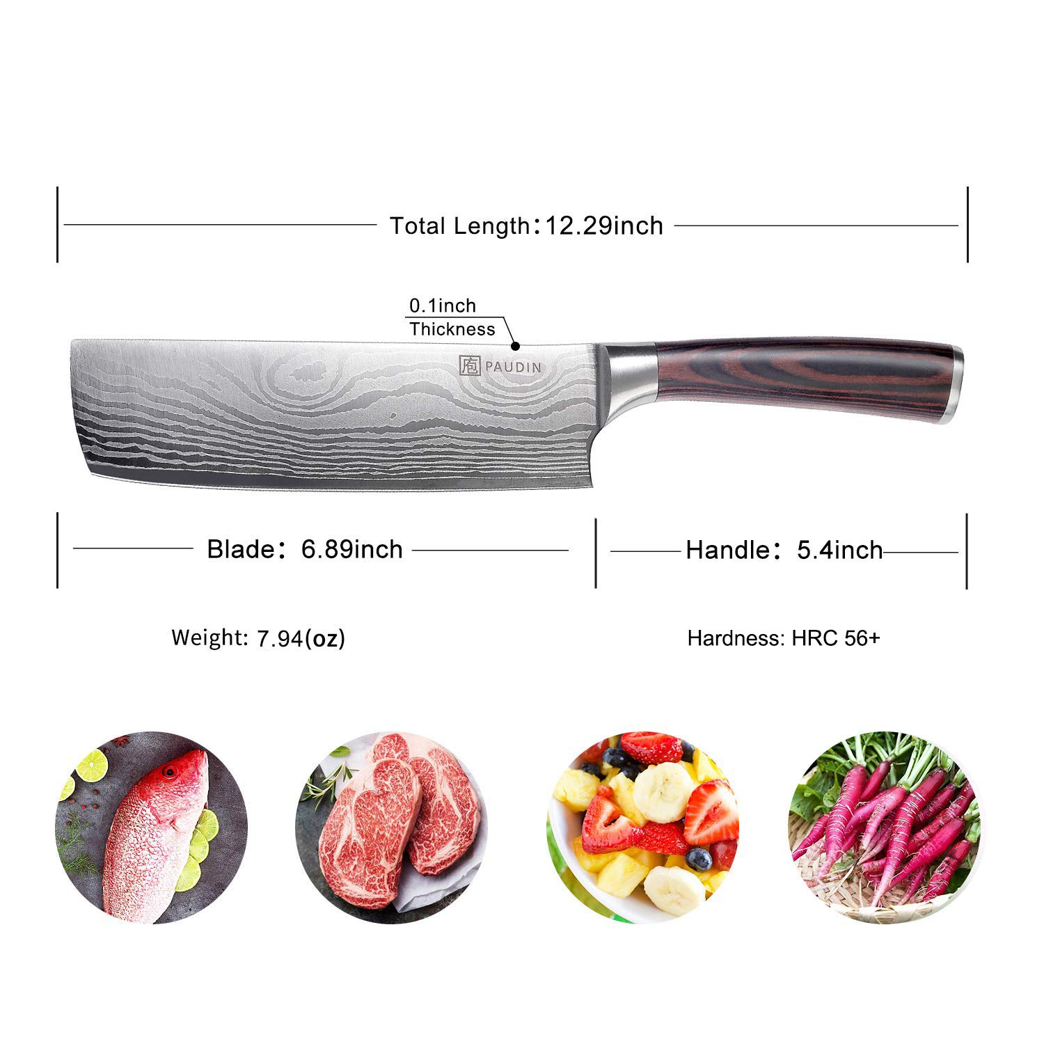 Cleaver Knife - PAUDIN 7 inch Chinese Vegetable Cleaver Kitchen Knife N6 German High Carbon Stainless Steel Meat Cleaver Knife by PAUDIN (Image #7)
