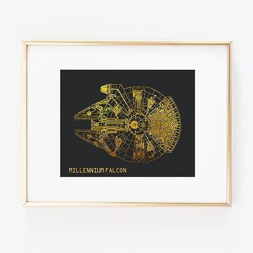 Star Wars Millennium Falcon Gold Foil Print Art Wall Home Office Home  Bedroom Boys Decor Poster
