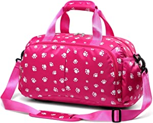 Girls Overnight Duffle Bag for Weekend Travel Little Kid Women Holdall Airplane Underseat Carry On Luggage Small Carryon Duffel for Weekender Overnighter Travel Maternity Labor Delivery Bag (Hot Pink)