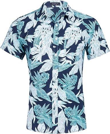 Camisa Hawaiana Playa Camisa de Manga Corta para Hombre Hojas Camisa Clásica Imprimir Casual Ajuste Regular: Amazon.es: Ropa y accesorios
