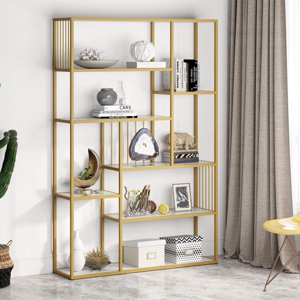 Tribesigns Gold Bookshelf, 8 Open Shelves Etagere Bookcase with Faux Marble, Modern Display Shelf Storage Organizer for Home Office by Tribesigns
