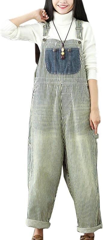 Flygo Womens Loose Denim Wide Leg Cropped Harem Overalls Pants Jeans Jumpsuits