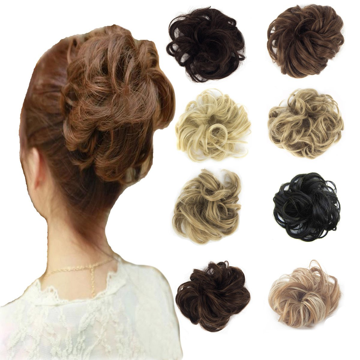 FOCUSSEXY Hair Synthetic Extensions Wavy Hair Bun Extensions Donut Hair Chignons Wig Hairpiece Scrunchy Scrunchie Hair Bun