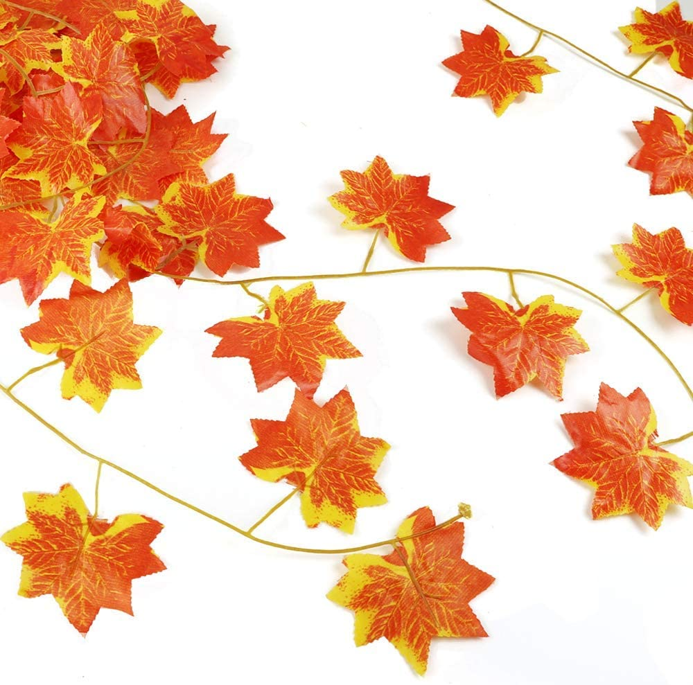 Fall Maple Garland Artificial Fall Foliage Garland Autumn Hanging Fall Leave Vines for Home Garden Wedding Party Thanksgiving Dinner Fireplace Door Frame Doorway Backdrop Decor Maple//12 Strands