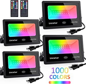 USTELLAR 4 Pack 25W RGB Color Changing Led Flood Lights Indoor Outdoor Halloween Christmas Decoration Exterior Uplighting Spotlight Uplight Colored Floodlights Wall Wash Backyard Yard Stage Lighting