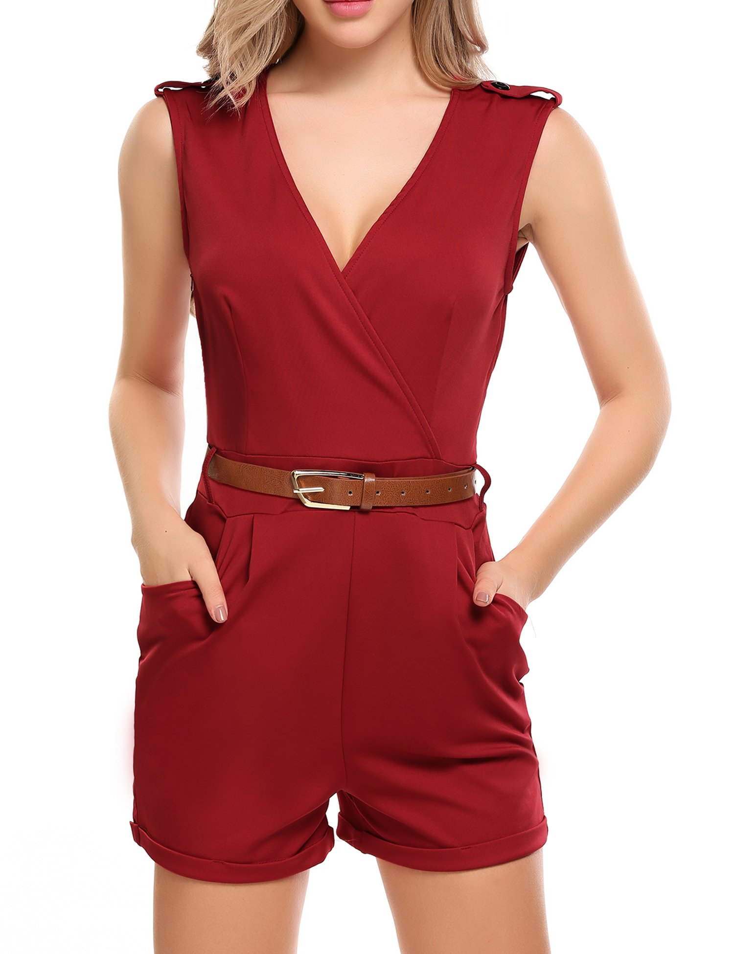 Zeagoo Women Casual Sleeveless V-Neck Solid Slim Playsuits Romper Shorts with Belt