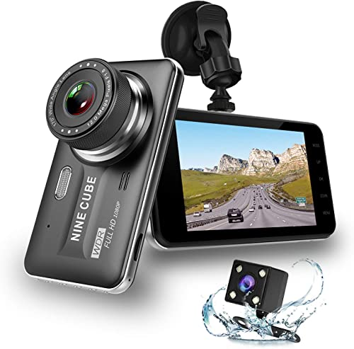 Dual Dash Cam Front and Rear, NINE CUBE 1080p HD Dashboard Recorder,Car Dash Camera 4 IPS Screen, 170 Super Wide Angle, G Sensor, Loop Recording, Parking Monitor, Motion Detection