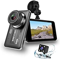 """Dual Dash Cam Front and Rear, NINE CUBE 1080p HD Driving Recorder,Car DVR Dashboard Camera, 4"""" IPS Screen, 170° Super Wide Angle, G Sensor, Loop Recording, Parking Monitor, Motion Detection"""