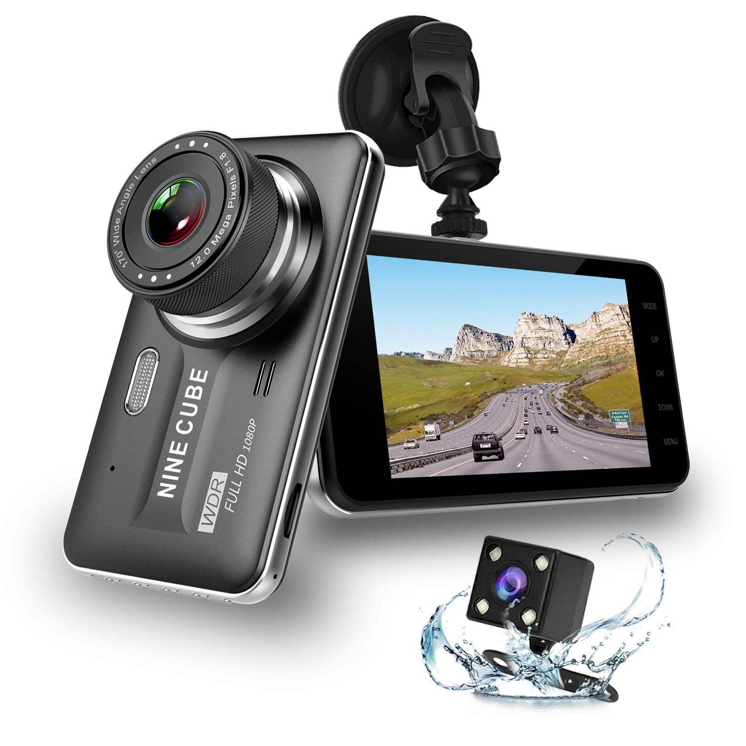 Dual Dash Cam Front and Rear, NINE CUBE 1080p HD Driving Recorder,Car DVR Dashboard Camera, 4'' IPS Screen, 170° Super Wide Angle, G Sensor, Loop Recording, Parking Monitor, Motion Detection