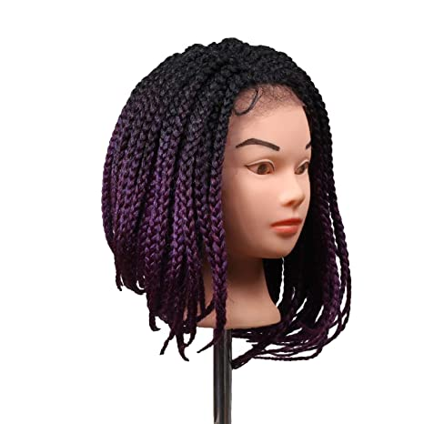 Amazon.com : short bob lace front synthetic wigs Heat Resistant Hair Wig crochet lace wigs braids, Purple, 14inches : Beauty