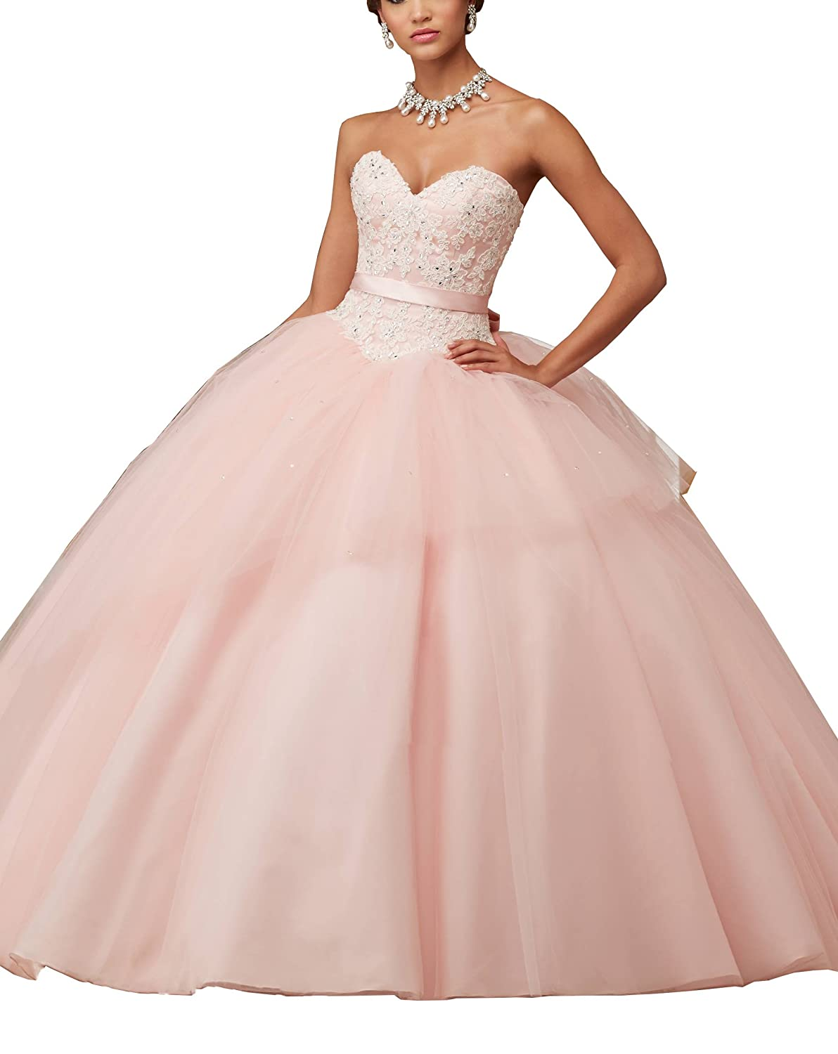 Women\'s Sweetheart Lace Applique Sweet 16 Ball Gown Quinceanera ...