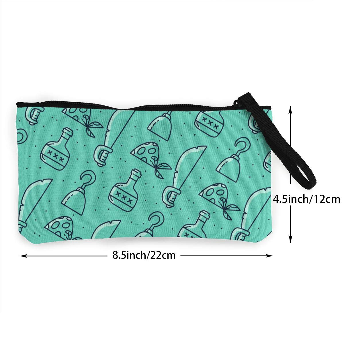 Coin Pouch Blue Pattern With Pirate Elements Canvas Coin Purse Cellphone Card Bag With Handle And Zipper