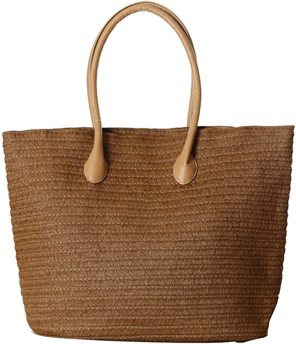 Dunland Summer Straw Handbags Top Handle Candy Colors Satchels Tote Nature Beach Purse Bags