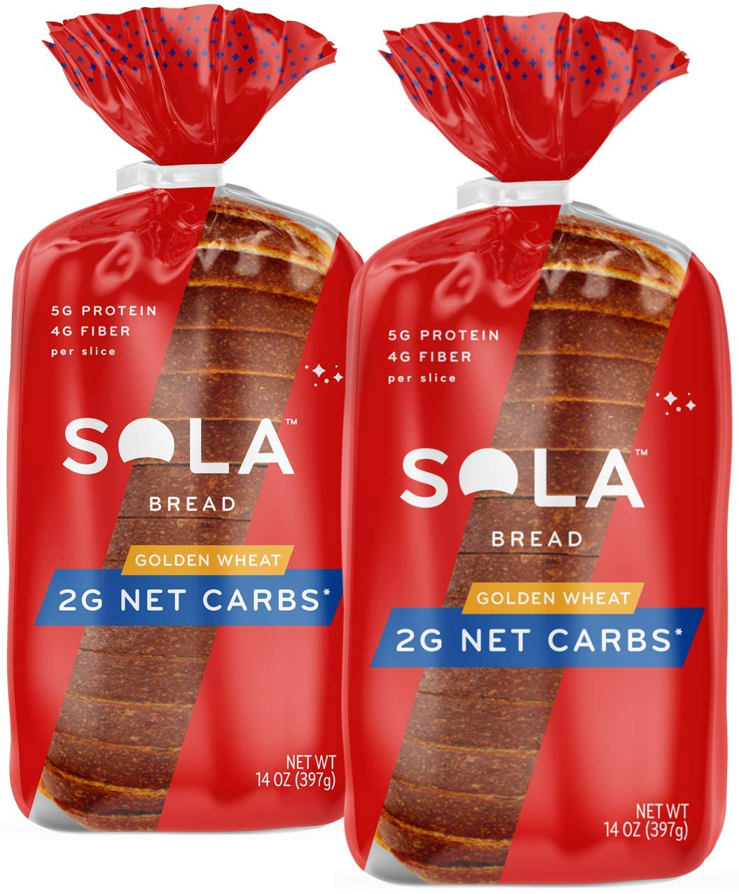Sola Golden Wheat Bread – Low Carb, Low Calorie, Reduced Sugar, Plant Based, 5g of Protein & 4g of Fiber Per Slice – 14 OZ Loaf of Sandwich Bread (Pack of 2)
