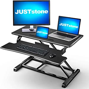 Standing Desk Converter Computer Workstation Adjustable Height, JUSTSTONE 32 inches Stand Up Desk Riser for Standing or Sitting Home Office with Removal Keyboard Tray Fits Dual Monitors, Black