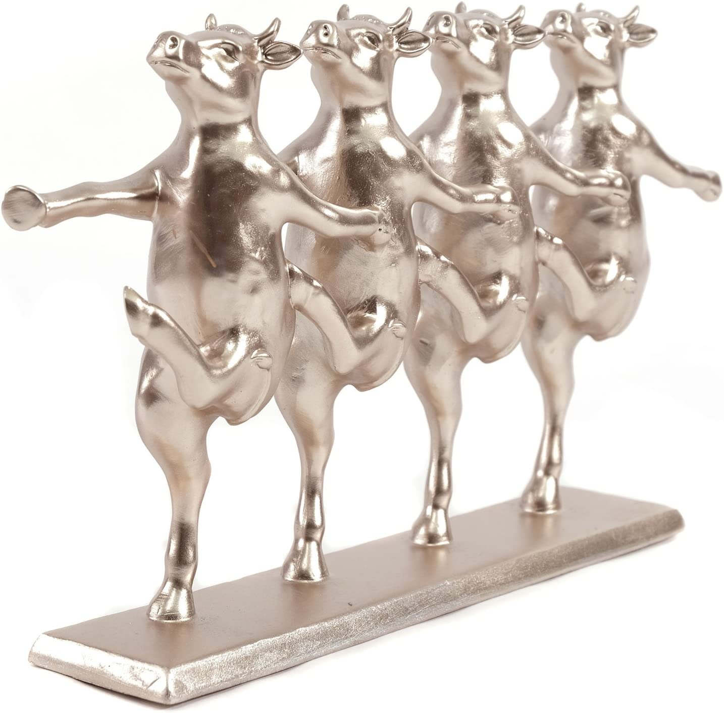 Fancy Decorazione Figura 'cow Party | Rosegold, In Poliresina, 40,6 Cm | Scultura Con Mucche