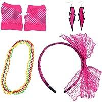 Toyvian 80s Collares de neón Guantes de Rejilla Pendientes de Arco de Encaje Diadema 1980s Accesorios de Disfraces Fiesta de Disfraces para niñas Mujeres Noche Rosy