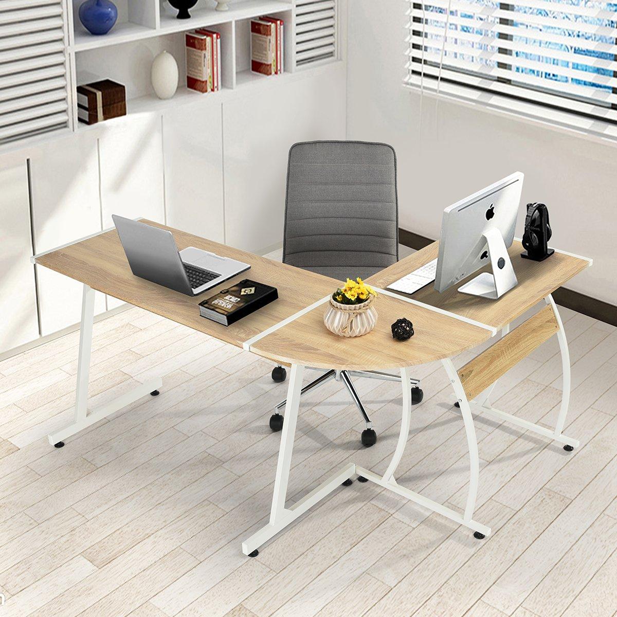 Computer Desk FurnitureR Modern L-Shaped Desk Corner Computer Desk PC Latop Study Table Workstation Wood Style Large Gaming Desk for Home Office Oak